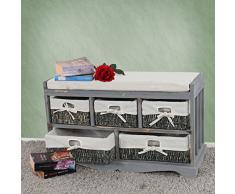 Serie vintage panca cassettiera con 5 ceste multiuso legno di paulonia 36x77x45cm ~ grigio
