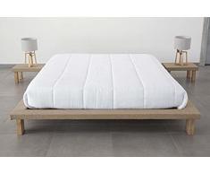 EVERGREENWEB - Letto Tatami Matrimoniale 160 x 190 cm in legno Naturale alto 20 cm con comodini inclusi. Letto giapponese a doghe rivestito in tessuto color Beige adatto a tutti i Materassi - TAMI