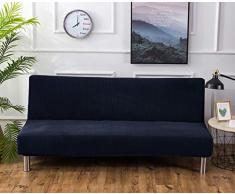 Futon - Copridivano elasticizzato senza braccioli, antiscivolo, pieghevole, ideale per divano letto pieghevole (blu navy, jacquard lavorato a maglia)