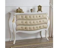 Como cassettone bombato Brilliant stile Barocco Decapé avorio particolari foglia oro ecopelle champagne bottoni e pomelli Swarovski