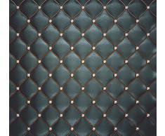 murimage Carta Parati Pelle Nero 274 x 254 cm Include Colla Ottica 3D imitazione Cuoio Lusso Trapuntato Diamante fotomurali wallpaper camera da letto
