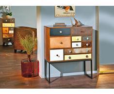 Como`cassettiera in legno pino massiccio stile vintage etnico 10 cassetti