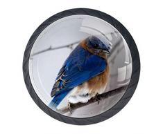 Bird 3D multi-angolo visivo cassetto maniglia per armadio Comò cassetto cabinet armadio libreria (4 pezzi)