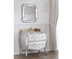 Como cassettone lavabo bombato e specchio stile Barocco Moderno foglia argento marmo crema ecopelle bianca bottoni pomelli Swarovski
