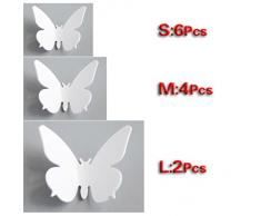 SODIAL (R) NEW 3D parete DIY della farfalla per la casa decorazioni della stanza 12 pz D1