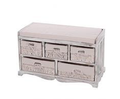 Mendler Serie vintage panca cassettiera con 5 ceste legno di paulonia 36x77x45cm bianco