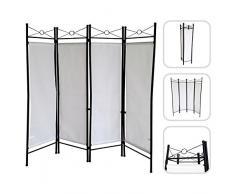 Divisorio Todeco Numero di pannelli: 4-180 x 160 cm Bianco Paravento Materiale pannello: 100/% poliestere