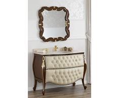 Como cassettone lavabo bombato e specchio stile Barocco Inglese noce particolari foglia oro marmo crema ecopelle champagne bottoni pomelli Swarovski