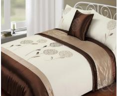 Just Contempo Bed in a Bag - Copripiumino ricamato in raso e finta seta, set completo di biancheria da letto, 5 pezzi, Poliestere, cristallo fiore - cioccolato marrone (beige), corredo letto matrimoniale