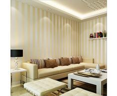 Rotolo di carta da parati in tessuto non tessuto KeTian, stile europeo moderno minimalista, country, lussuoso, a righe, per soggiorno o camera da letto, 0,53 m x 10 m = 5,3 m2, Non-lana, Beige, 0.53m (1.73' W) x 10m(32.8'L)=5.3m2 (57 sq.ft)