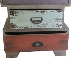 Cassettiera Vintage multicolor sagomata in legno di paulonia L45xPR35xH68 cm