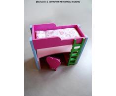 Il letto di Barbie - letto a soppalco con scrivania in legno