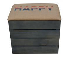 Liza Cassapanca di legno, colore: blu petrolio, Panca, Pouf, Sgabello Vintage con sedile comodo rivestito di tessuto. Mobile per esterno da Scarpe, Giocattoli. Pino nordico massiccio – 50 x 45 x 36 cm Felice