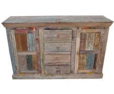 Guru-Shop Antico Comò in Legno Teak con Templi Blocco di Stampa, 97x150x43 cm, Cassettiere e Credenze