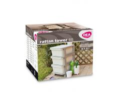 DEA Home Z908R008 60 Cassettiera Rattan Tower, 37X37X60, Milk Bianco