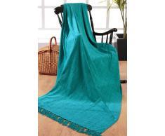 EliteHomeCollection - Coperta di ciniglia, 100% poliestere, per divani a 3 posti o letti matrimoniali, 225 x 250 cm, colore: Blu foglia di tè