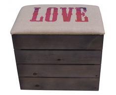 Liza Cassapanca di legno, colore: Talpa, Panca, Pouf, Sgabello Vintage con sedile comodo rivestito di tessuto. Mobile per esterno da Scarpe, Giocattoli. Pino nordico massiccio – 50 x 45 x 36 cm love