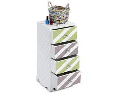 ts-ideen Design Cassettiera 61 cm Armadio Conservazione Legno Bianco con malva e verde colore
