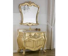 Simone Guarracino Como lavabo 2 porte e specchio stile Barocco Francese foglia oro marmo crema pomelli Swarovski