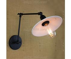 Ysddian Industriale americano Camera da Letto pieghevole lampade letto lungo braccio bilanciere Specchio lampada minimalista moderno retrò con interruttore luci da parete, Lunghezza braccio (20+20 cm)