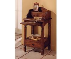 Comodino Toledo stile etnico coloniale in legno massello di teak finitura color noce - Prezzo OUTLET ONLINE