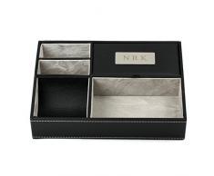 Oneplace regali personalizzati in ecopelle Valet vassoio, comodino o cassettiera da Ogranizer for Men, 5 vano per accessori Pigliatutto inciso