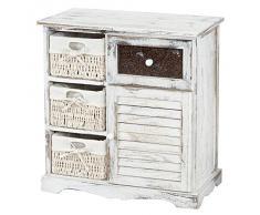 Serie vintage comodino cassettiera Asti legno paulonia cassetto e sportello 30x60x64cm ~ bianco