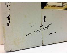 Specchio da muro a figura intera con cornice di anta di armadio d'epoca usurata dal tempo, decapato in bianco stile Shabby-Chic,cm 85,7 x 160