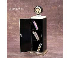 "'Retro Vintage armadio/CD DVD archiviazione""Route 66 Gas pompa - Crema"