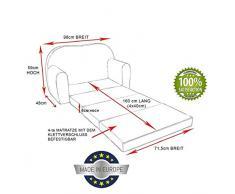 Pro Cosmo H10 bambini divano letto futon con pouf/poggiapiedi/cuscino, tessuto, rosa, 168 x 98 x 60 cm