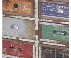 Armadietto con 6 cassetti Arts – Bianco con stampa Antico 60 X 30 X 45 – Credenza cassettiera