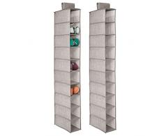 mDesign Portascarpe da appendere – Set da 2 – Perfetta scarpiera e organizer armadio – Funzionale scaffale per scarpe, vestiti e accessori – 10 ripiani – Colore: lino
