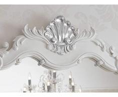 Simone Guarracino Como lavabo 2 porte e specchio stile Barocco Moderno bianco laccato particolari foglia argento marmo crema pomelli Swarovski