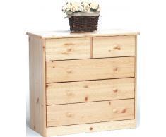 Steens Mario - Cassettiera in legno di pino, 2+3 cassetti, finitura naturale laccata