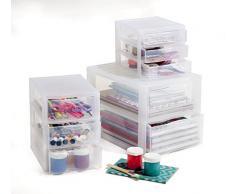 Sundis 1422000096 Cassettiera Orgamix in plastica (PP), 3 cassetti in formato A6+, ca. 21 x 18 x 17 cm, trasparente