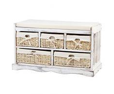Miadomodo Cassapanca Portaoggetti con Cuscino e 5 Cassetti Ceste in Vimini Mobile Panchina Shabby Vintage Rustica Bianca