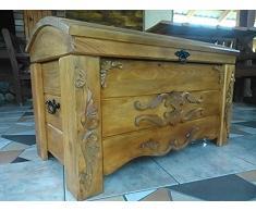 Cassapanca in legno tavolino baule vintage in legno ottomano (ER3)