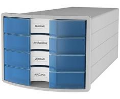 HAN 1012-64 Cassettiera IMPULS, design innovativo ed attrattivo di alta qualità. Con 4 cassetti chiusi e con grandi etichette per la descrizione del contenuto, grigio chiaro/ traslucente-blu.