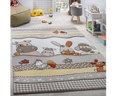 Paco Home Tappeto per Bambini per Cameretta con Divertenti Animali della Fattoria Taglio Sagomato Beige Grigio, Dimensione:80x150 cm