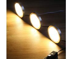 Le - Set di luci LED per armadio, con tutti gli accessori, angolo di irradiazione 120°, barra luminosa a LED, lampada da cucina, illuminazione per vetrine, luce bianca calda, confezione da 6