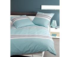 Janine 6490 Fein biancheria da letto in flanella Davos, 100% cotone, blu pastello, 135 x 200 cm + 80 x 80 cm