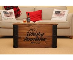 Uncle Joe's Cassapanca in Stile Vintage Shabby Chic con Scritta Ole Smoky Tennessee Moonshine, Legno, Marrone, 84 x 55 x 44 cm