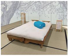 VivereZen - Divano Letto Futon Salice Con futon cotone rilavorato 14 cm