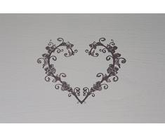 Cassapanca Shabby LOVE in legno finitura bianca anticata 80x35x43 cm (L5657-E)