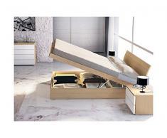 Arosio Bernardel - Letto matrimoniale in legno con contenitore. escluso materasso. VERO LEGNO, cm 210 x 171/181, Laccati opachi, Avorio