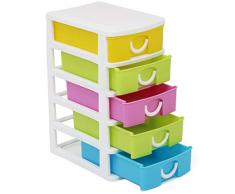 com-four® Cassettiera con Cinque cassetti per Accessori Artigianali - utile Organizer Ufficio con cassetti - cassetti Artigianali - scrivania, Bagno, Cucina (001 Pezzi - contenitori di stoccaggio)