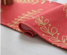 Natale Runner da Tavola Etnico, Morbuy Vintage Damascato Casa della Decorativo con Nappa Arazzo Letto Decorazioni per Matrimonio Festa Natale (30x180cm,Natale)