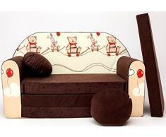 PRO COSMO K27 Bambini Divano Letto futon con Pouf/poggiapiedi/Cuscino, Tessuto, Marrone, 168 x 98 x 60 cm
