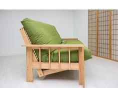 Futon On Line Divano letto Vienna, Custodia verde, 190 x 140 x 30 cm