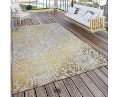 Paco Home Tappeto per Interni ed Esterni, Motivo Orientale, Giallo Crema, Dimensione:120x170 cm